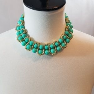 Amrita Singh Mint Green Beaded Gold Tone Necklace